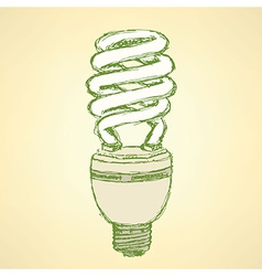 Sketch economic light bulb in vintage style vector image