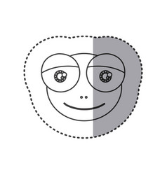 sticker of grayscale contour with face of frog vector image