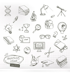 Studying and education sketches of icons set vector image vector image