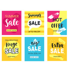 Summer sale mobile banners template set vector