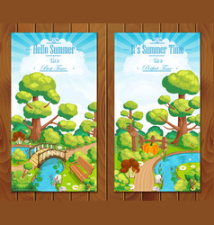 Summer vacation landscapes vertical banner vector image