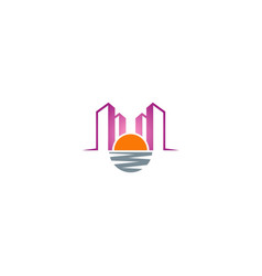 Sunset cityscape building logo vector