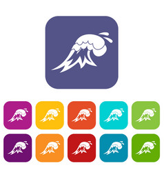 surf wave icons set vector image