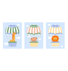sweet animals and balloons set vector image