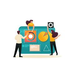 Teamwork business analysis flat 2d character vector
