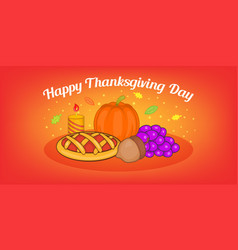 Thanksgiving pie horizontal banner cartoon style vector