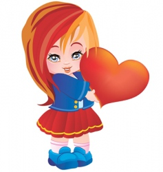 the girl with heart vector image