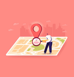 tiny man with magnifier at huge map with gps pin vector image