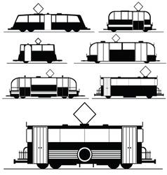 Tram in black vector