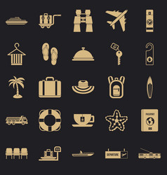 Travel guide icons set simple style vector