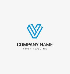 v line art logo vector image