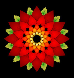 Vibrant red colored round floral natural mandala vector