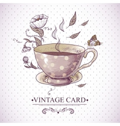 Vintage Card with Cup Flowers and Butterfly vector image