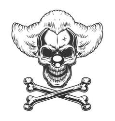 vintage monochrome scary evil clown skull vector image