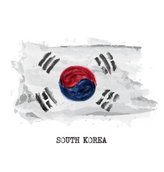Watercolor painting flag of south korea vector