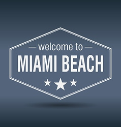 Welcome to Miami Beach hexagonal white vintage vector