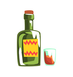 Whiskey bottle and glass colorful cartoon vector