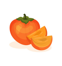 Whole persimmon and two slices sweet and tasty vector