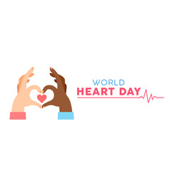 World heart day banner for love and health support vector