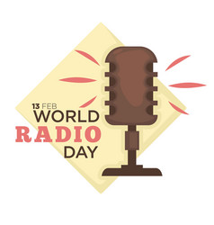 World radio day isolated icon retro microphone vector