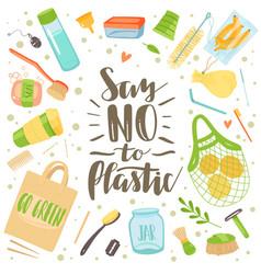 Zero waste concept reusable shop items kitchen vector