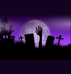 Zombie hand in halloween landscape vector