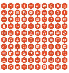 100 headphones icons hexagon orange vector image