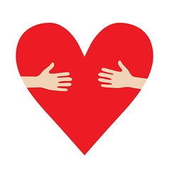 Heart In Hands hug donation encourage vector image