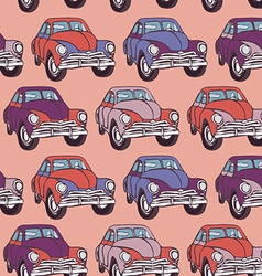 Seamless car pattern Sketch Pink lilac purple vector image vector image