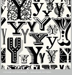 seamless vintage pattern letter Y vector image vector image