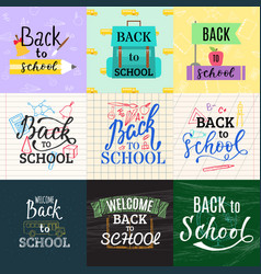 back to school lettering greeting card design text vector image vector image