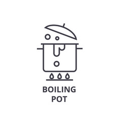 boiling pot line icon outline sign linear symbol vector image vector image