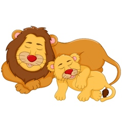 cute lion cartoon sleeping with her baby vector image vector image