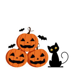 happy halloween day cute pumpkin smile spooky vector image