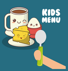 kids menu hand holding spoon with breakfast vector image