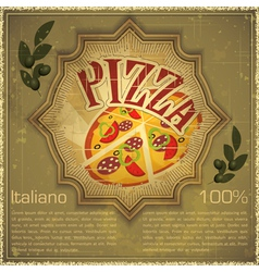 Pizza on grunge Background vector image vector image