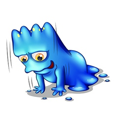 A blue monster exercising alone vector
