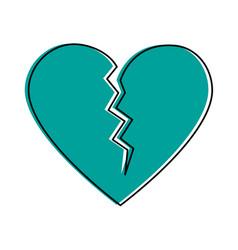 Broken cartoon heart icon image vector