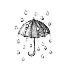 Dotwork umbrella rain vector