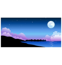 Full moon over peaceful water landscape vector image