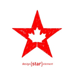 hand draw Star with Canadian maple Leaf vector image vector image