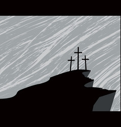 mountain with three crosses and a storm in the sky vector image vector image