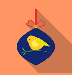 christmas bauble with bird icon in flat style vector image vector image