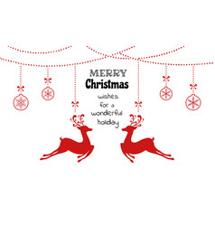 christmas ornaments hanging with reindeer vector image vector image