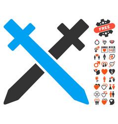 Crossing swords icon with dating bonus vector