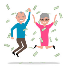 grandparents won the big prize and became rich vector image vector image