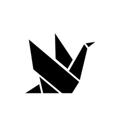 origami icon black sign on vector image vector image