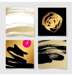 Set of four black and gold ink brushes grunge vector