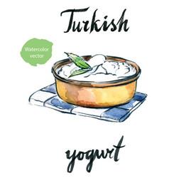 watercolor delicious homemade yogurt with mint vector image