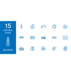 15 building icons vector image